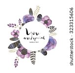 watercolor greeting card.... | Shutterstock . vector #323315606