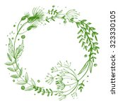 wreath flower drawn in colored... | Shutterstock . vector #323330105