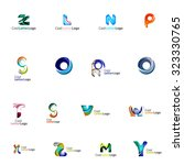set of colorful abstract letter ... | Shutterstock .eps vector #323330765