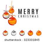set of abstract christmas ball... | Shutterstock . vector #323331845