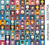 set of people icons in flat... | Shutterstock .eps vector #323337926