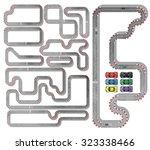 ten tracks circuit whith racing ...   Shutterstock . vector #323338466