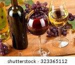 Red And White Wine And Grapes ...