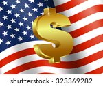 american flag with dollar sign  ... | Shutterstock .eps vector #323369282