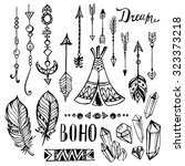 hand drawn ethnic design... | Shutterstock .eps vector #323373218
