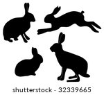 silhouettes of hares | Shutterstock .eps vector #32339665