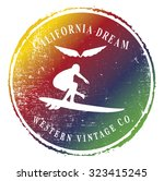 colorful surf emblem with...   Shutterstock .eps vector #323415245