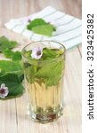 Small photo of Herbal tea from marshmallow, lat. Althaea officinalis, good against cough