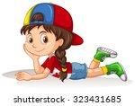 little girl lying down... | Shutterstock .eps vector #323431685