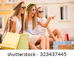 shopping  sale  happy people... | Shutterstock . vector #323437445