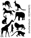 various figures of animals on a ...   Shutterstock .eps vector #32344651