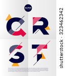 typographic alphabet in a set.... | Shutterstock .eps vector #323462342