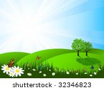 landscape on a summers day | Shutterstock .eps vector #32346823