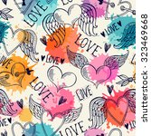 seamless pattern with hearts.... | Shutterstock .eps vector #323469668