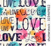 Seamless Pattern Of Words. Lov...