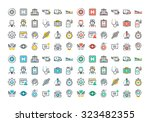 flat line colorful icons set of ... | Shutterstock .eps vector #323482355