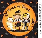 children trick or treat in... | Shutterstock .eps vector #323491412