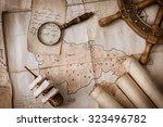 vintage still life of old maps  ... | Shutterstock . vector #323496782