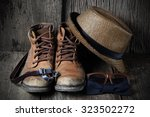shoe hat and accessories travel ... | Shutterstock . vector #323502272