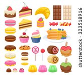 set of sweet food icons. candy... | Shutterstock .eps vector #323518916
