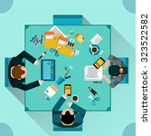 office teamwork concept with... | Shutterstock .eps vector #323522582