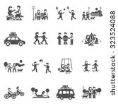 outing black icons set with...   Shutterstock .eps vector #323524088