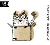 watercolor vector cat character   Shutterstock .eps vector #323528438