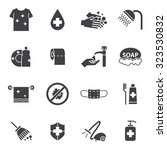 hygiene and cleaning icons set | Shutterstock .eps vector #323530832