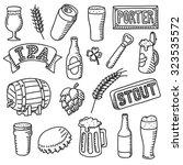 set of beer doodles. hand drawn ... | Shutterstock .eps vector #323535572