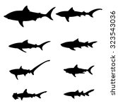 Set Of Silhouettes Of Sharks O...