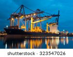 Container Ship In Asia Port...