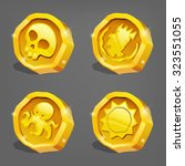 cartoon gold coins. vector...