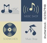 set of music flat logos for... | Shutterstock .eps vector #323567948