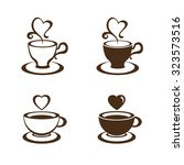 coffee cup and tea cup vector | Shutterstock .eps vector #323573516