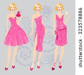 three vector fashion girls in... | Shutterstock .eps vector #323578886