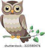 vector owl on a tree branch | Shutterstock .eps vector #323580476