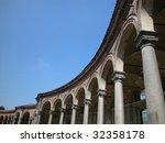View of ancient arcade of Rotonda Besana, Milan, Italy - stock photo