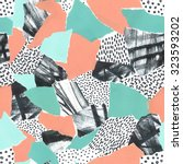 abstract paper collage of retro ... | Shutterstock . vector #323593202