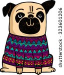 a cute cartoon pug wearing a... | Shutterstock .eps vector #323601206