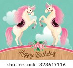 two beautiful cartoon unicorns... | Shutterstock .eps vector #323619116