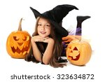 beautiful girl witch with... | Shutterstock . vector #323634872