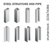 steel pipe and steel beam and... | Shutterstock .eps vector #323676386