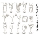 sketch cocktails collection.... | Shutterstock .eps vector #323686805