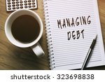 thinking on managing debt ... | Shutterstock . vector #323698838