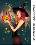 halloween vector  illustration... | Shutterstock .eps vector #323709986