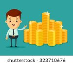 cute cartoon businessman with a ... | Shutterstock .eps vector #323710676