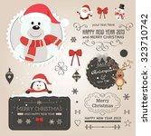 christmas vector set   labels ... | Shutterstock .eps vector #323710742