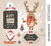 set of christmas ornaments and... | Shutterstock .eps vector #323711012