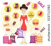 a woman is shopping  holding... | Shutterstock .eps vector #323711582