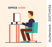 office worker sitting at the... | Shutterstock .eps vector #323714426